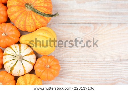 High angle still life of autumn decorative pumpkins and gourds. Horizontal format on a white wood table with copy space. - stock photo
