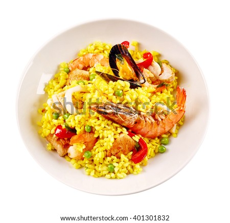 High Angle Still Life View of Traditional Spanish Paella Dish Made with Yellow Saffron Rice and Fresh Seafood and Shellfish Served in Modern White Bowl on White Background