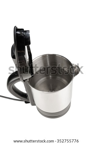 High angle take of a stainless steel kettle full with water - stock photo