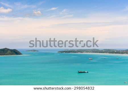 High angle view blue sky over the Andaman Sea and seaside tourist town from Khao-Khad mountain viewpoint famous attractions in Phuket island, Thailand - stock photo