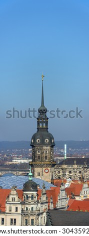 High angle view from bell tower of Kreuzkirche (Church of the Cross) towards Hausmannsturm tower in Dresden, Germany.