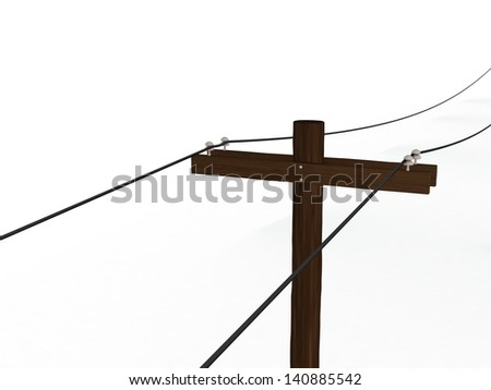 High Angle View of a 3D Rendered Power Pole on a White Background - stock photo
