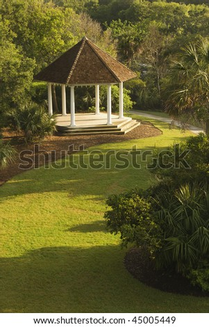 High angle view of a gazebo in park. Vertical shot. - stock photo
