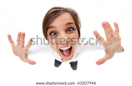 High angle view of a girl screaming - stock photo