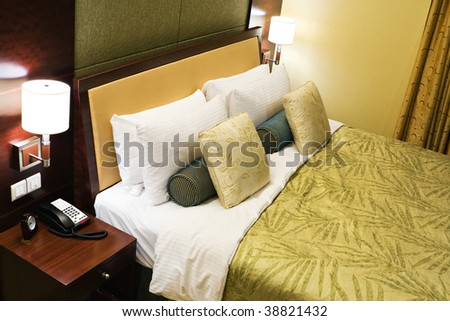 high angle view of a hotel room