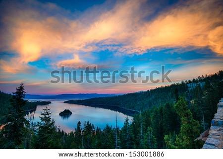 High angle view of a lake, Lake Tahoe, Sierra Nevada, California, USA - stock photo