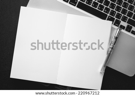 High angle view of a setting table of business workplace, shot in office - stock photo