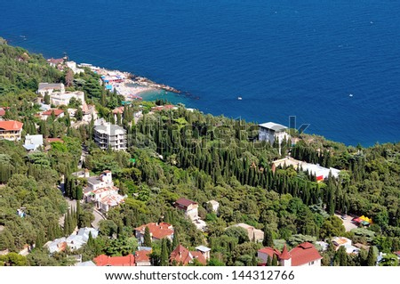 High angle view of a small coastal town in the Crimea. Ukraine.