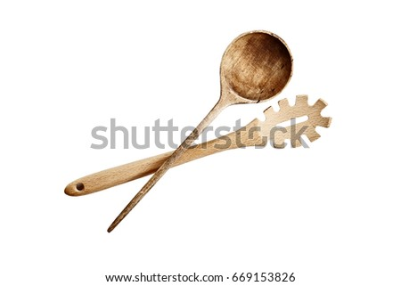 High angle view of a two wooden spoons isolated over a white background with clipping path included.