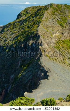 High angle view of a volcano, Irazu, Volcan Irazu National Park, Costa Rica - stock photo