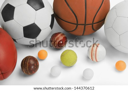 High angle view of assorted sports balls - stock photo