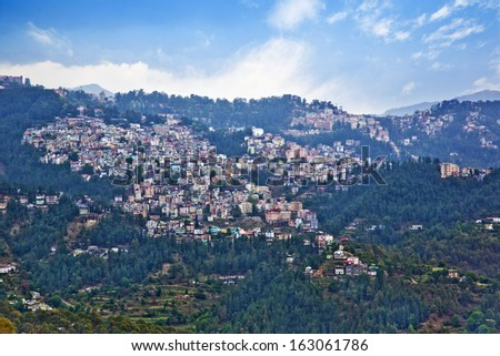 High angle view of buildings on a mountain, Shimla, Himachal Pradesh, India