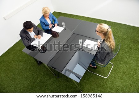 High angle view of environmentalists sitting at desk in office during a job interview. - stock photo