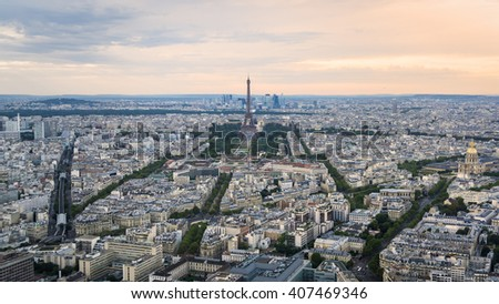 High angle view of Paris, France