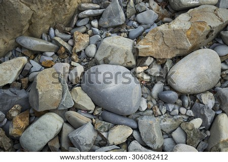 High angle view of rock formations on the shore, Ixtapa, Guerrero, Mexico - stock photo