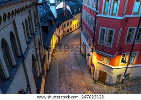 High angle view of small street in old part of stockholm - stock photo