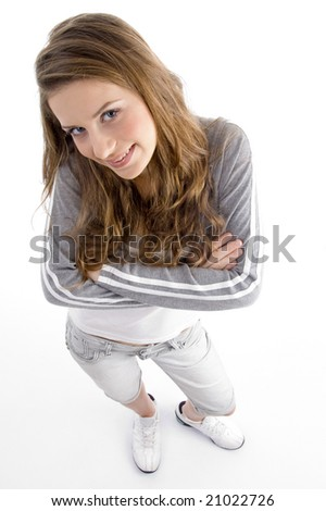 high angle view of smiling female looking at camera on an isolated white background - stock photo