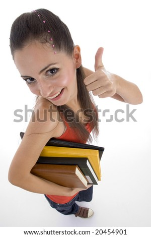 high angle view of student showing good luck sign with white background - stock photo