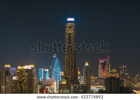 High angle view of the capital city at night in bangkok, thailand