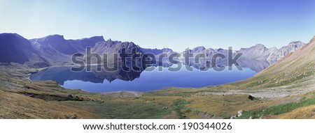 High angle view of the Heaven Lake in Baektu Mountain - stock photo