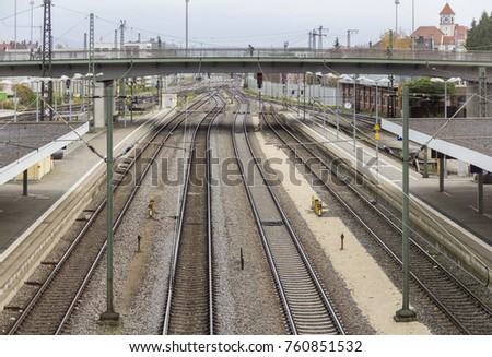 high angle view showing a part of the railway station in Regensburg, a town in Bavaria in Germany