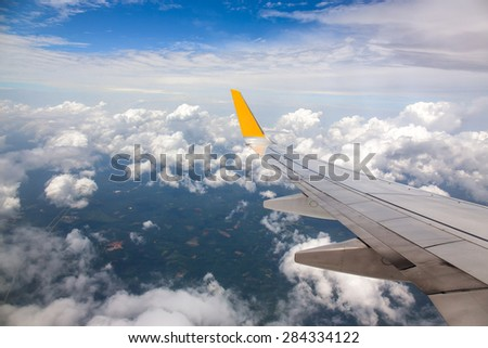 high angle view Thailand on the air plane