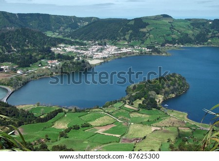 """high angle view with part of a lake named """"Lagoa das Sete Citades"""" at S - stock photo"""