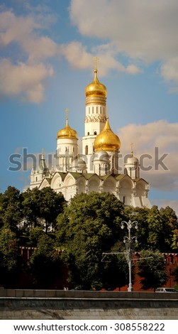 High bell tower of Ivan the Great in the Moscow Kremlin - stock photo