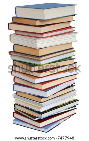 High books tower isolated on white background