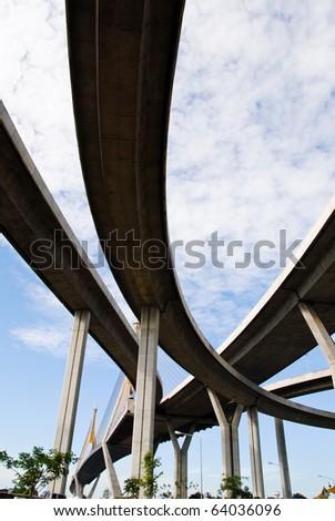 High bridge over the river background skyscraper - stock photo