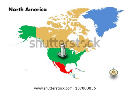 high building at USA on north america map, isolated