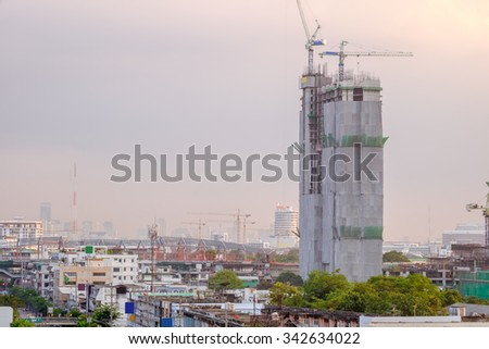 high building construction site, Bangkok Thailand