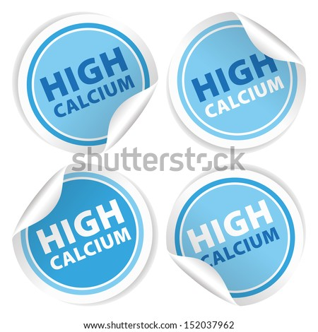 High Calcium Stickers and Tags with Blue color - icon, banner, label, badge, sign, symbol