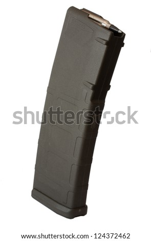 High capacity magazine that goes into a modern assault rifle