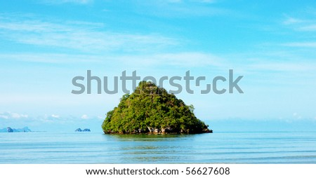 High cliffs on the tropical island. Exotic tropical landscape. - stock photo