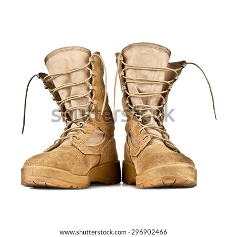 high combat boots in the desert coloring isolated on white background - stock photo