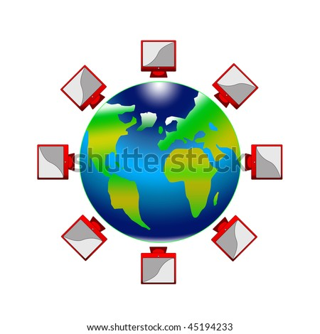 High computer technologies have surrounded blue globe - stock photo