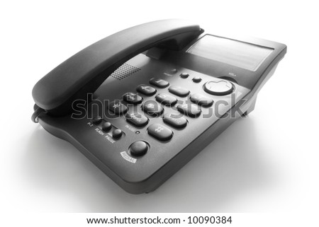 high contrast black telephone with shadow