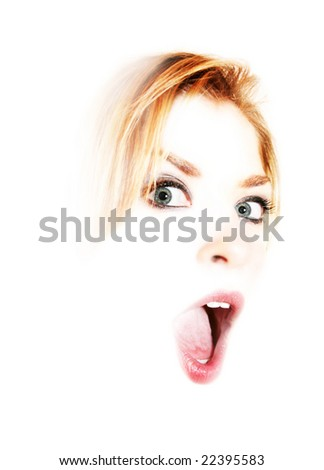 high contrast jaw dropping female portrait on White background - stock photo
