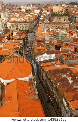 high-contrast picture of a roof landscape in the abandoned historic city of Porto - stock photo