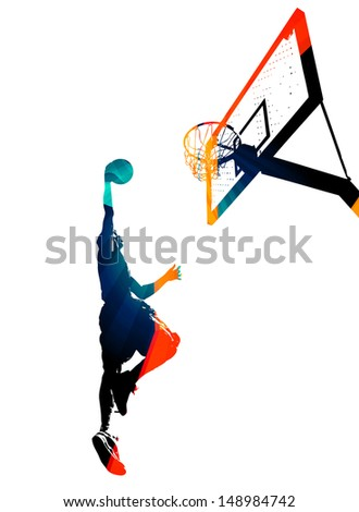 High contrast silhouette illustration of an athlete slam dunking a basketball. - stock photo
