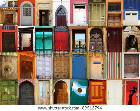 High-definition composition of 32 street doors in various locations of the world - stock photo
