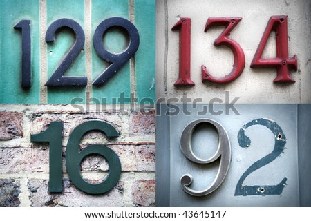 High-definition composition of 4 street numbers - stock photo