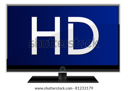 High definition lcd TV isolated over a white background - stock photo