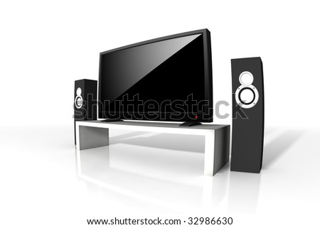 high definition television - isolated 3d illustration - stock photo