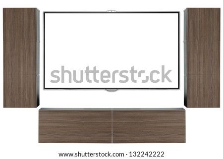 High definition TV. on wall with cabinets. - stock photo