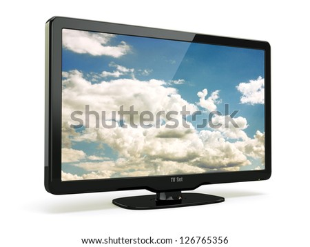High Definition TV with cloud sky on screen. 3d - stock photo
