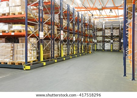 High Density Mobile Shelves in Automated Warehouse - stock photo
