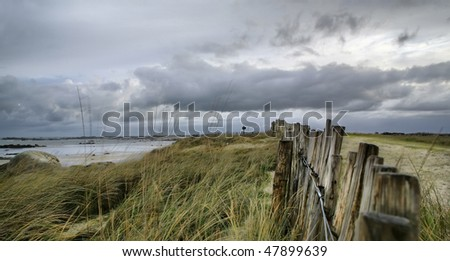 High density range image on the beach on a stormy day at Atlantic ocean, France