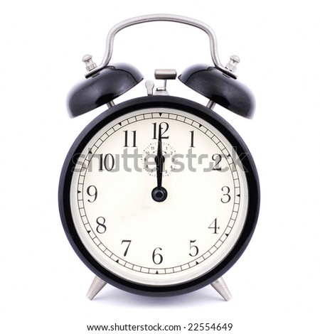 High Detail Alarm Clock isolated on white - stock photo